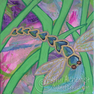 """""""Dragonfly Garden"""" Collection. Panel 2 of 4, acrylic on 6"""" x 6"""" x 1 1/2"""" deep stretched canvas."""