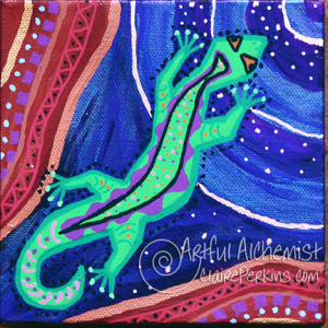 """""""Lizards of Dreamtime"""" Series, Panel 1 of 4, acrylic on 6"""" x 6"""" x 1 1/2"""" deep stretched canvas."""