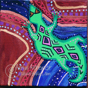 """""""Lizards of Dreamtime"""" Series, Panel 2 of 4, acrylic on 6"""" x 6"""" x 1 1/2"""" deep stretched canvas."""