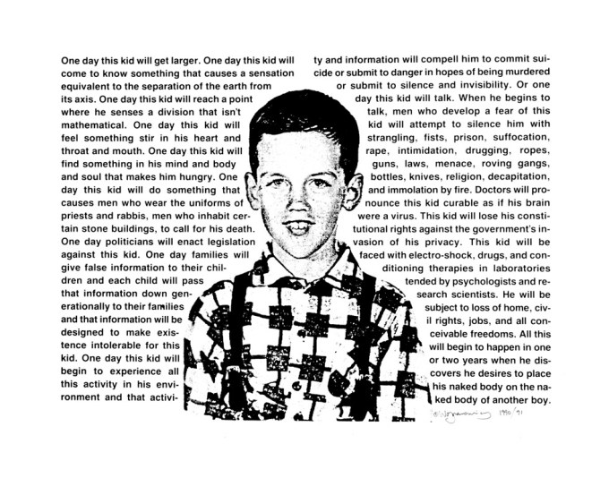 David Wojnarowicz, One Day This Kid