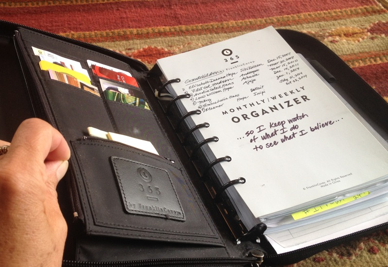 The inside pocket of Clarissa's Franklin Covey Daily Planner