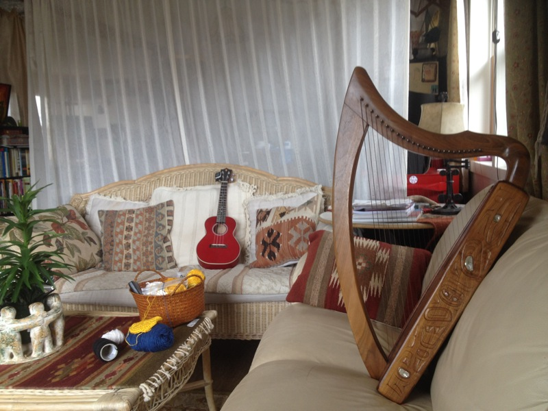 Clarissa's hand-made Northwest Coast Tlingit carved harp