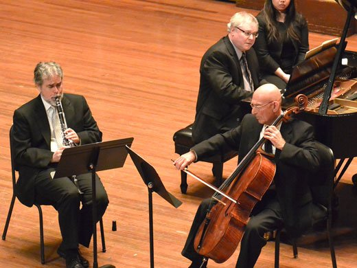 William R. Hudginsclarinet, Jules Eskin cello and David Deveau piano (Stu Rosner photo)