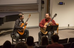 Isaac Bustos (right) in master class