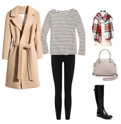 12 camel coat - striped top - leggings