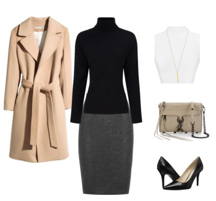 14 camel coat - black turtleneck - gray skirt
