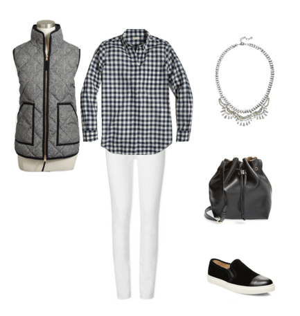gingham shirt - vest - white jeans