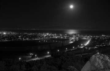 Moon over False Bay and Sandvlei