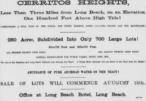 Cerritos Heights ad 8/16/1887 LA Herald