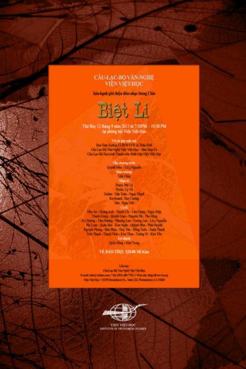 Đêm Văn Nghệ Chủ Đề: Biệt Li