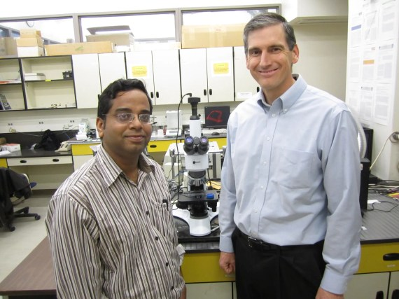 University of Utah metallurgical engineers Prashant Sarswat and Michael Free used an old office microwave oven to produce a nanocrystal semiconductor named CZTS that is made from cheaper, less toxic materials than other semiconductors and holds promise for more efficient solar power cells and lighting by LEDs, or light-emitting diodes, as well as sensors for medical tests and systems to convert waste heat to electricity. Image Credit: Lee J. Siegel, University of Utah