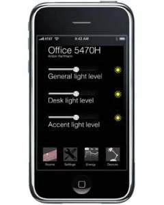 A user could control SmartLight through a mobile app, as depicted in this rendering.