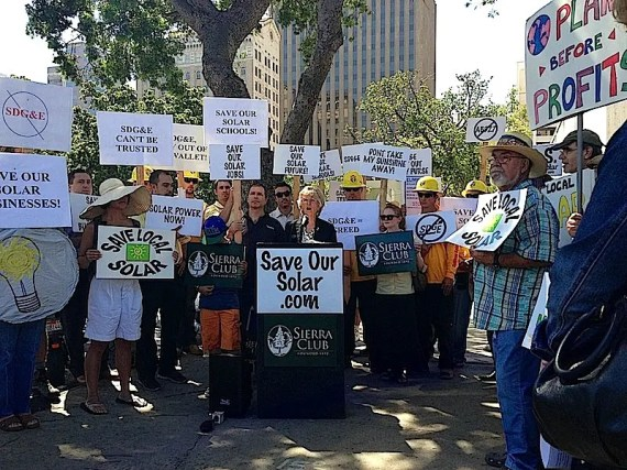 Protest outside Sempra Energy – Courtesy San Diego Counsellor Dianne Jacob's Office