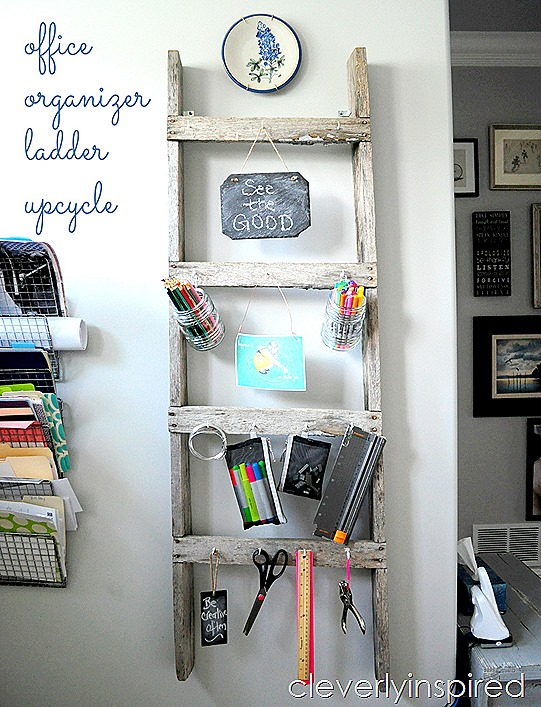 repurposed old ladder office organizer @cleverlyinspired (8)