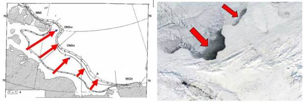 Flaw polynyas (opensea water) start theirformation in November,when wind breaks apartfast ice and drifting seaice.Area of the ESAS openwater in winter is equalto the total area ofSiberian thermokarstlakes open in summer.