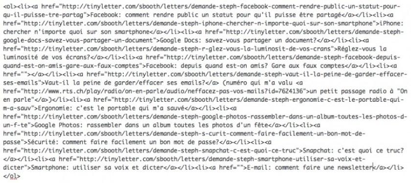 html code list blog post
