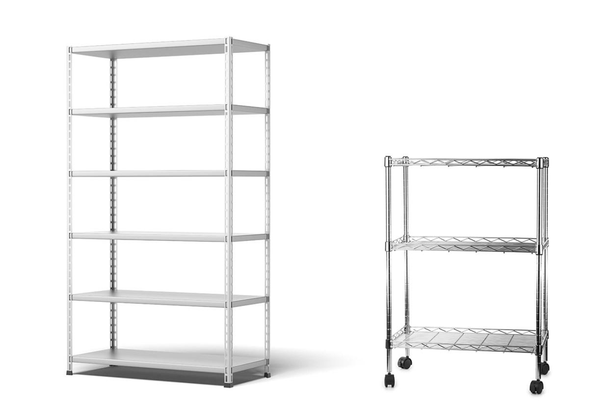 2 metro style rack shelving units for product merchandising