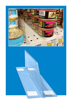 plastic shelf dividers separate cans on retail display shelving