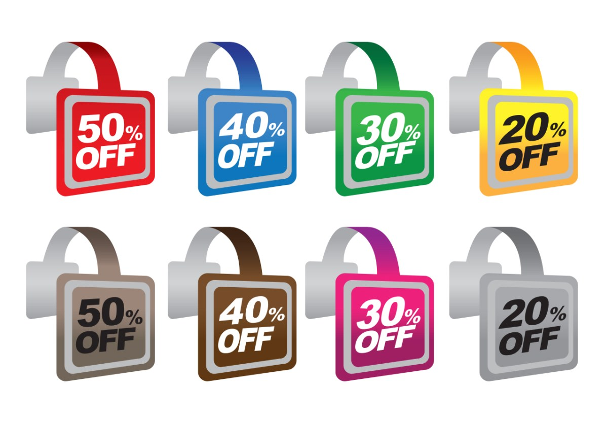 multicolored sign wobblers for hanging store signs off shelf edges