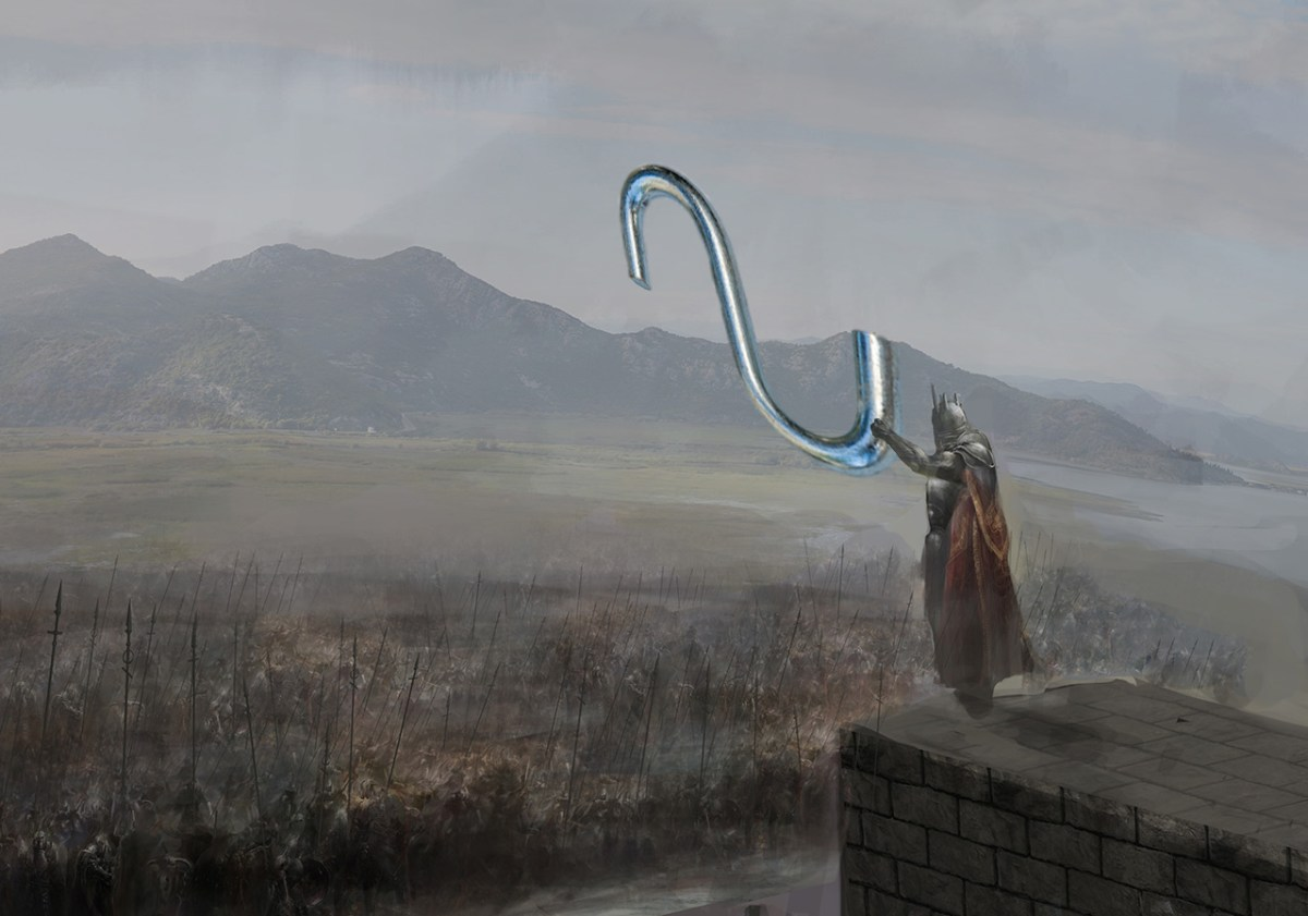 Ancient General Holding S Hooks On Wall Overlooking Army