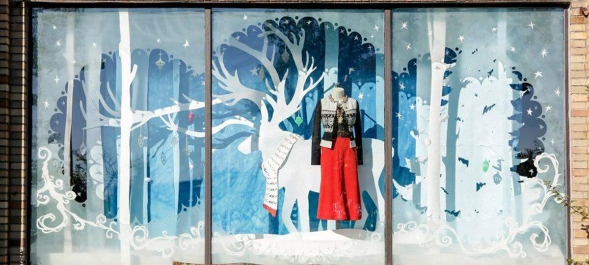 pretty winter window display