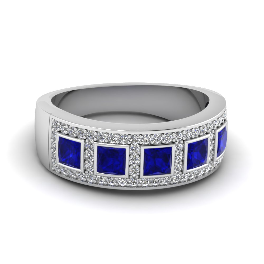 sapphire and diamond wedding band zoom sapphire wedding band Estate Sapphire and Diamond Wedding Band