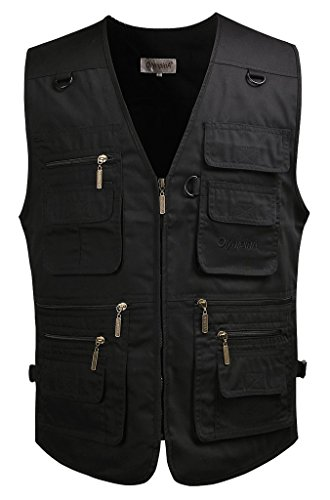 Mrignt Mens Casual Loose Fit Multi-Pockets Zipper Denim Vest Jacket