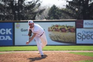 Alex Noel earned the victory in the first game of the doubleheader against UW-Whitewater on Alumni Day at Warner Park.