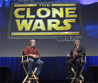 IMAGE: George Lucas and Stuart Snyder at Cartoon Network upfronts, from animated-news.com.