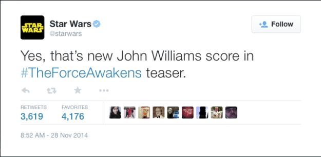@starwars: Yes, that's new John Williams score in #TheForceAwakens teaser.