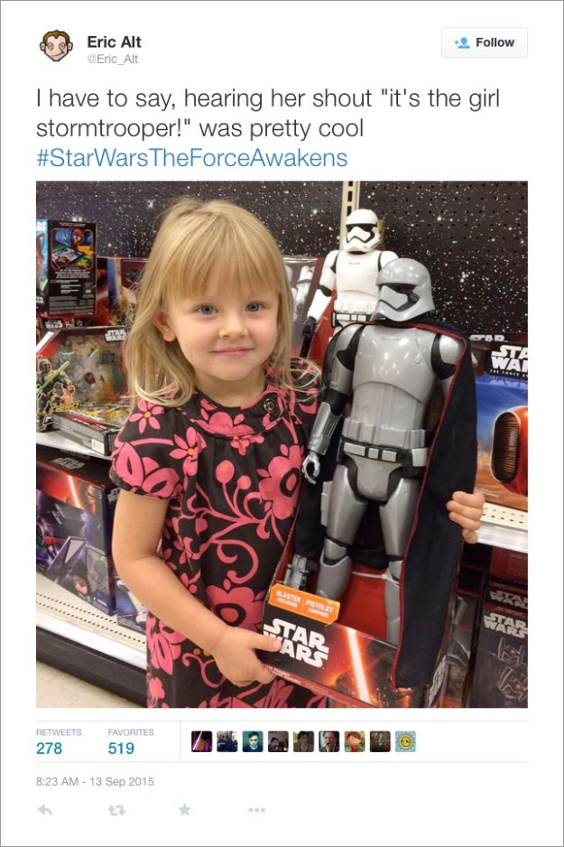 "@Eric_Alt: I have to say, hearing her shout ""it's the girl stormtrooper!"" was pretty cool #StarWarsTheForceAwakens"