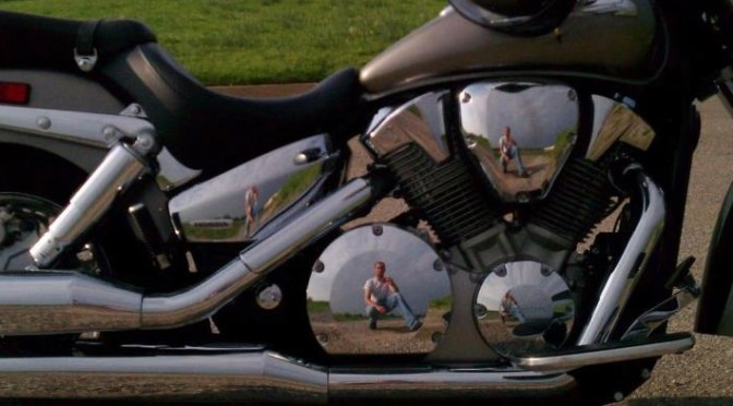 My reflection in the chrome of my Honda VTX 1300S