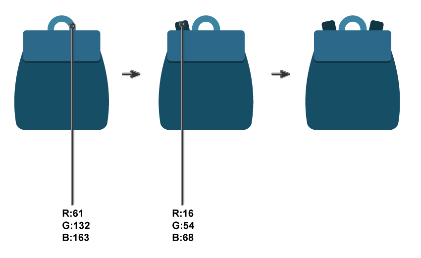 creating the backpack shoulder straps and handle