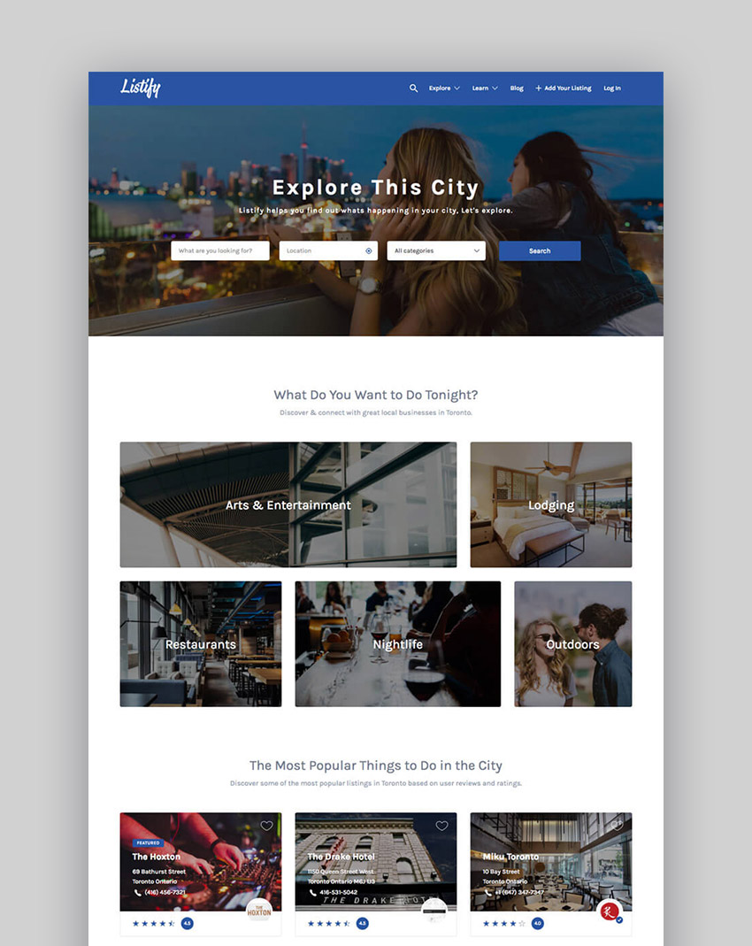 20 best wordpress directory themes to make business websites 2017 listify wordpress business directory website template cheaphphosting Gallery