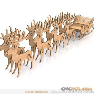 cnc-laser-ornate-sleigh Reindeer and Ornate Sleigh