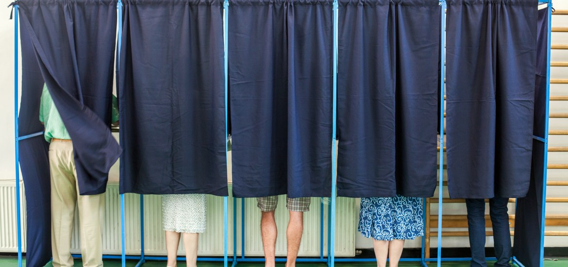 Color image of some people voting in some polling booths at a voting station. Copyright: Alexandru Nika (shutterstock.com)