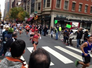Coming up Chestnut Street and spotting my cheering section!