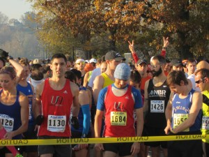 Start of the Harrisburg Marathon. Yes, those are my arms!