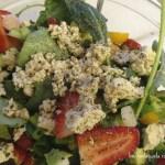 Strawberry Salad with Tofu Feta and Super Greens. #Vegan Recipe