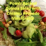 Power Packed Quinoa Salad with Creamy Avocado Vinaigrette. Vegan