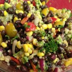Quickie Black Bean & Corn Salad and Pan Grilled Spicy Tofu