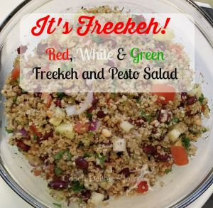 Red, White & Green Freekeh Salad with Pesto. It's Vegan!