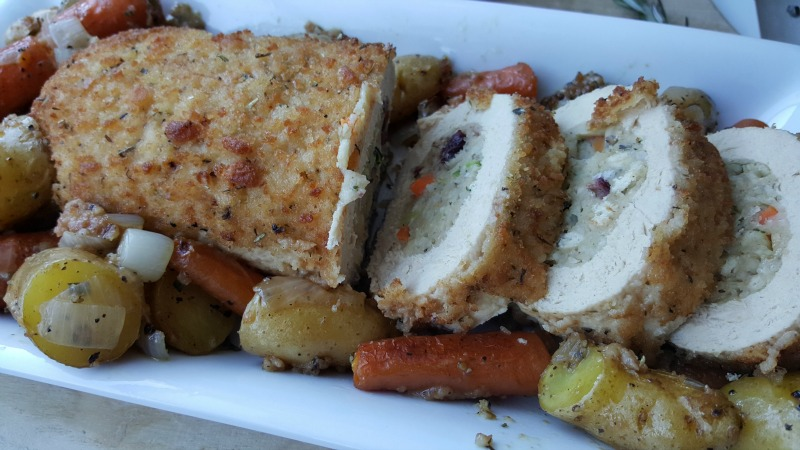 Gardein Holiday Roast with Fingerling Potatoes and Baby Carrots