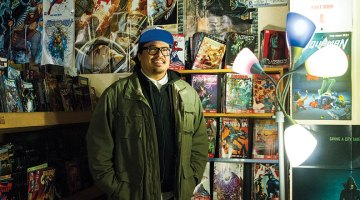 Alex Callego photographed at Desert Oasis Comics