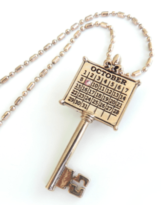 Wedding Date Calendar Key Necklace Gift