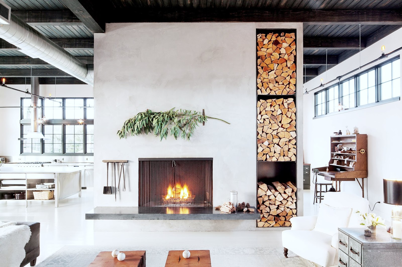 living room fireplace industrial loft cococozy nyt cococozy. Black Bedroom Furniture Sets. Home Design Ideas