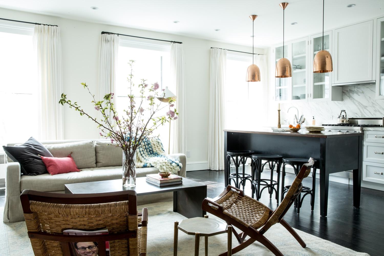 open-kitchen-island-copper-pendant-lights-living-room-cococozy-katiemartinezdesign