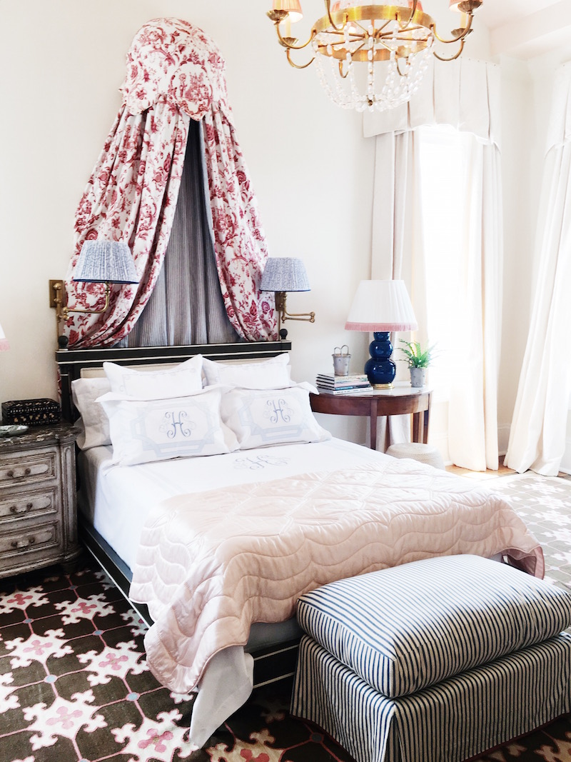 Traditional Bedroom – Toile + Ticking Stripe