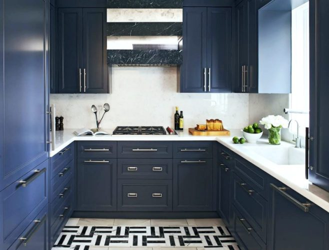 Two Blue Galley Kitchens