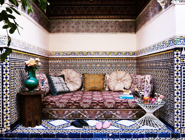 Moroccan tile outdoor daybed sofa living room international bohemian